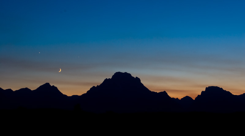 Crescent Moon And Planets Above Mount Moran
