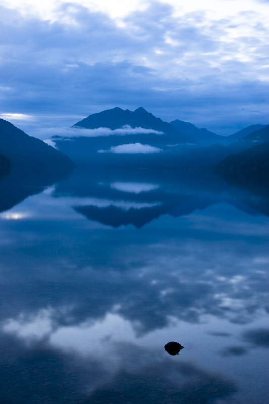 Cloudy Sunrise Over Lake Crescent