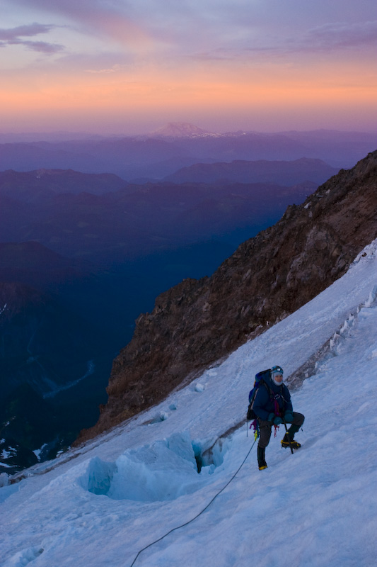 Climber And Mount Saint Helens At Sunrise