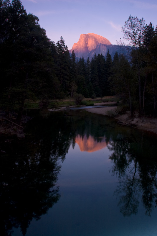 Half Dome Reflected In Merced River At Sunset