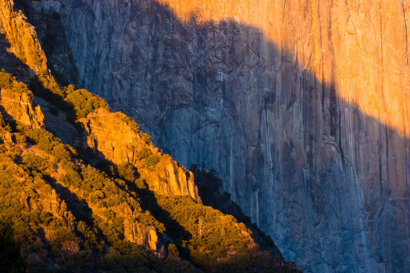 Light And Shadow On El Capitan At Sunset