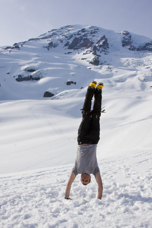 Me Doing A Handstand And Mount Rainier