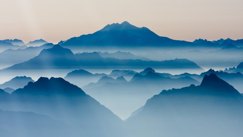 Glacier Peak And The North Cascades In Morning Mist