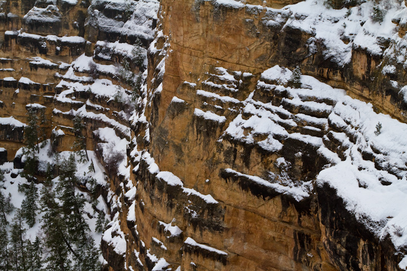 Snow On Cliff Face