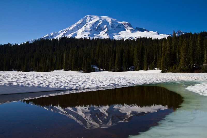 Mount Rainier Reflected In Thawing Reflection Lake