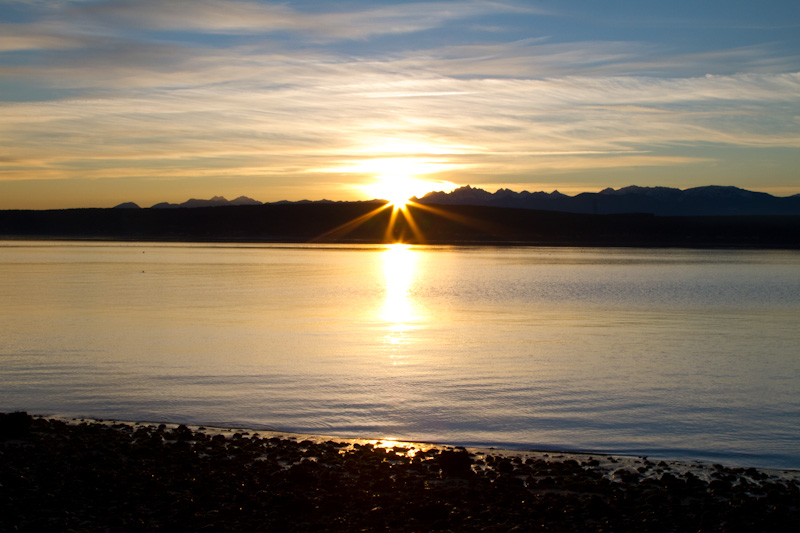 Sunset Over Hood Canal And The Olympic Mountains
