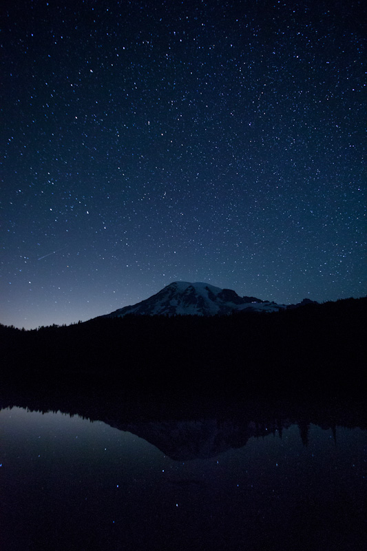 Mount Rainier Reflected In Reflection Lake During Persied Meteor Shower
