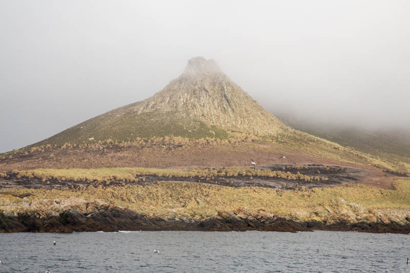 Peak Of Steeple Jason Island Enshrouded In Clouds