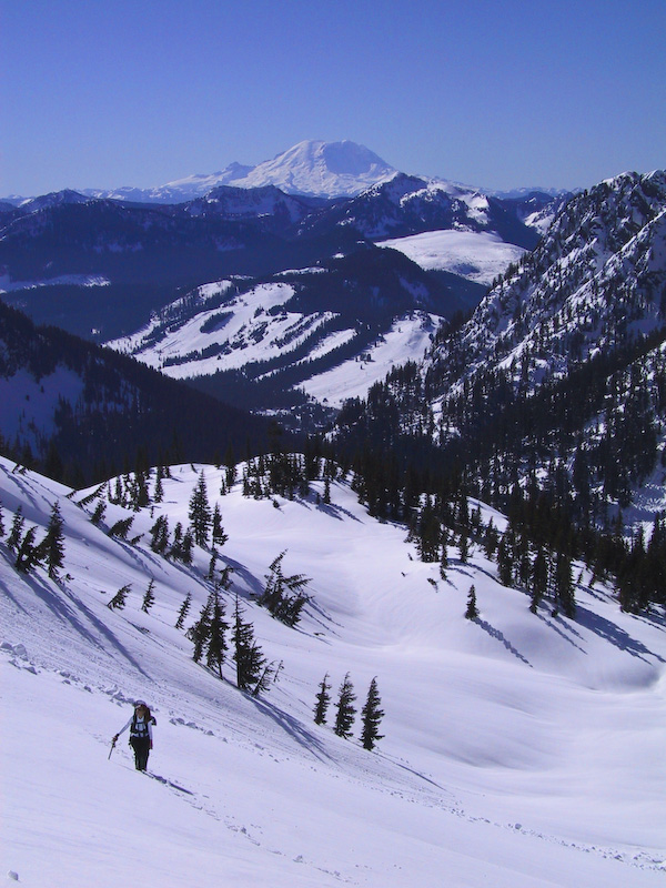 Climber Crossing Snow Slope With Mount Rainier In The Distance