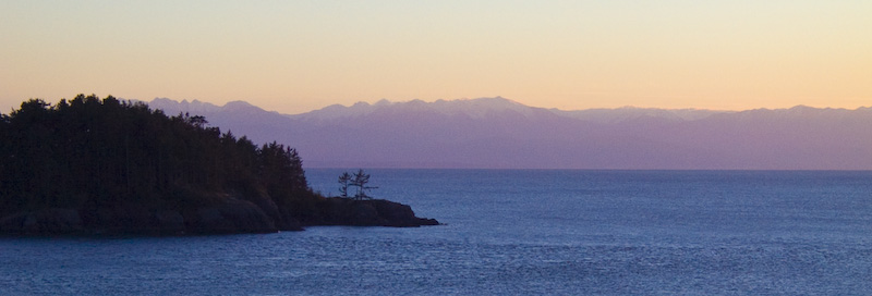 Deception Island And Olympic Mountains At Sunset