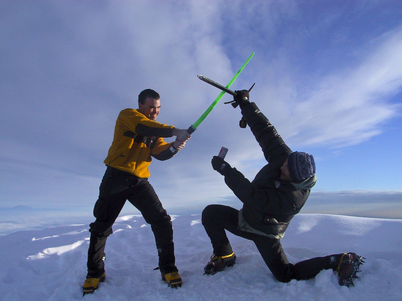 Me And My Lightsabre Versus Ice Ax And Whoop-Ass On The Summit Of Mount Hood