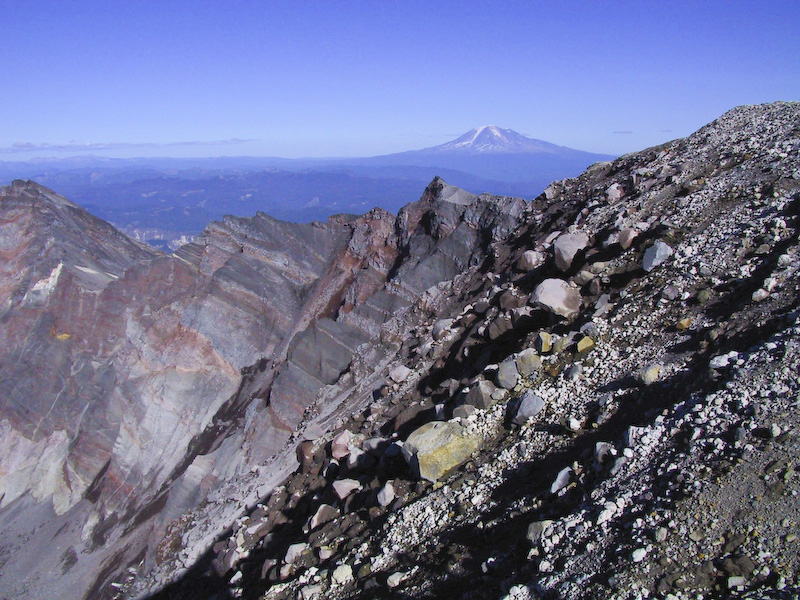 Crater Rim Of Mount Saint Helens And Mount Adams
