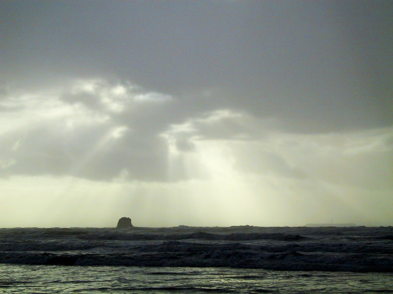 Sun Through Clouds Over Ruby Beach